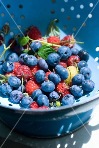 Summer berries in a colander