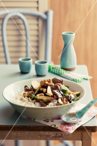 Lamb with cashew nuts and rice (Asia)