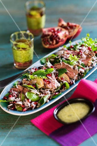 Lamb salad with pomegrante seeds and mint