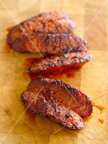 Grilled chorizo, sliced