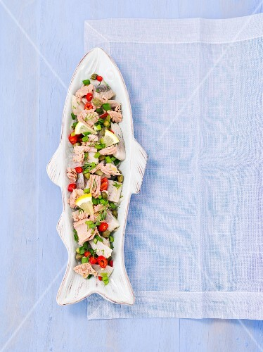Herring and tuna salad with capers, chilli and spring onions