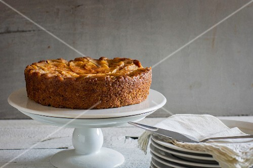 Apple cake on a cake stand