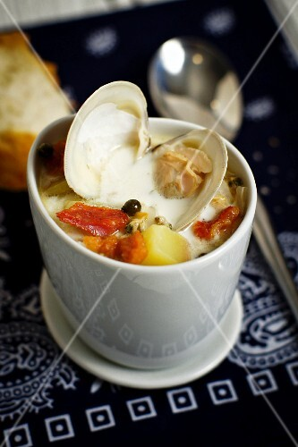 Clam chowder in a soup bowl