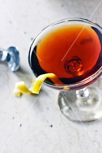 Martinez cocktail with gin and Vermouth