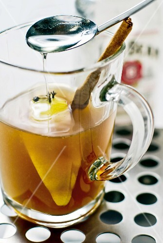 Hot toddy with whiskey and syrup