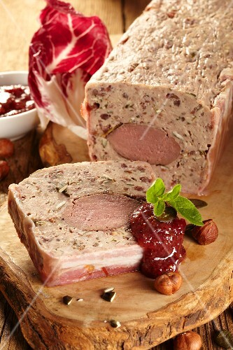 Game terrine with cranberry jam