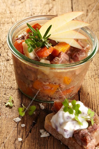 Wild boar in aspic with carrots and apple