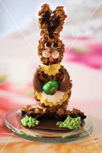An Easter bunny made from muesli bars and chocolate