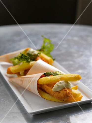 Fish and chips in paper cones