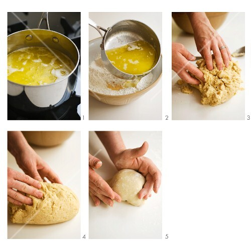 Dough being made with melted butter