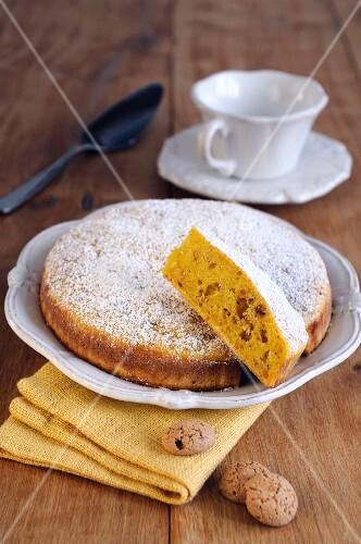 Pumpkin and amaretto cake, sliced