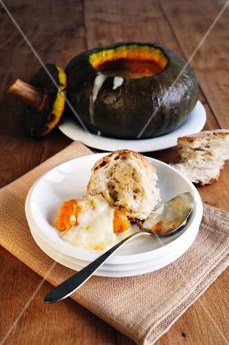 Pumpkin with taleggio, fontina and gorgonzola (pumpkin fondue)