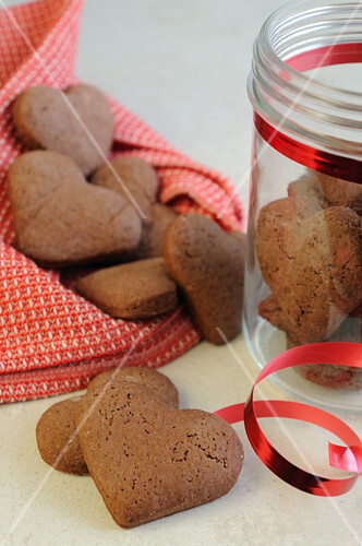 Heart-shaped chocolate biscuits for Valentine's Day