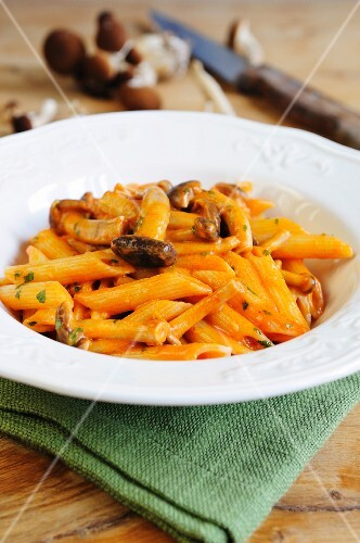 Penne with wild mushrooms and a creamy tomato sauce