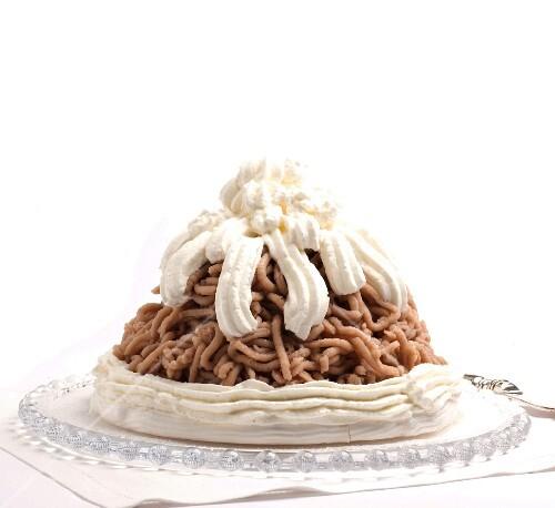 Mont Blanc (chestnut dessert topped with cream)