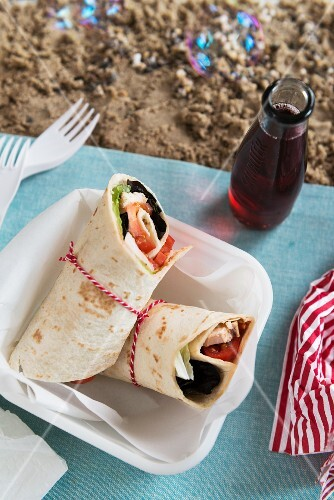 Chicken wraps for a picnic