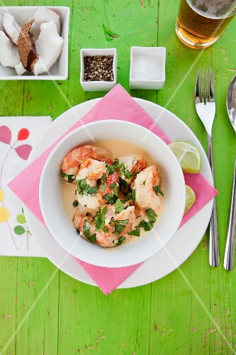Moqueca De Camarao (prawn stew, Brazil) with coconut milk