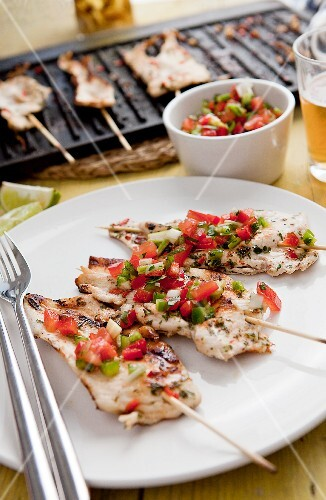 Marinated chicken skewers with salsa (Brazil)