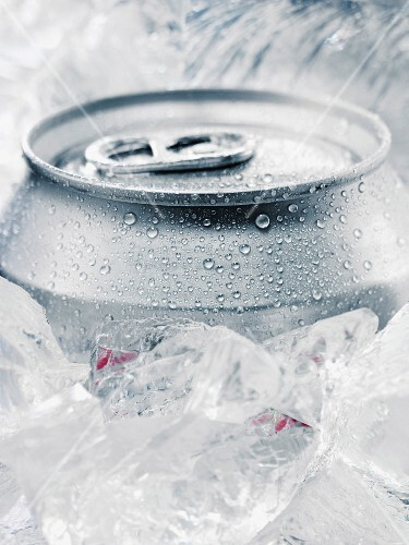 A drinks can on ice