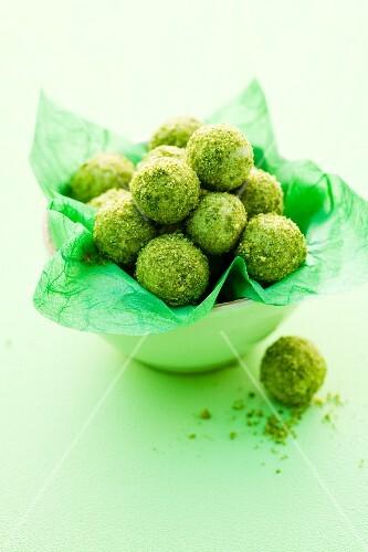 Green tea pistachio truffles