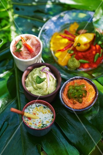Various exotic sauces and dips