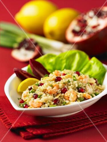 Quinoa with prawns, pomegrante seeds and almonds