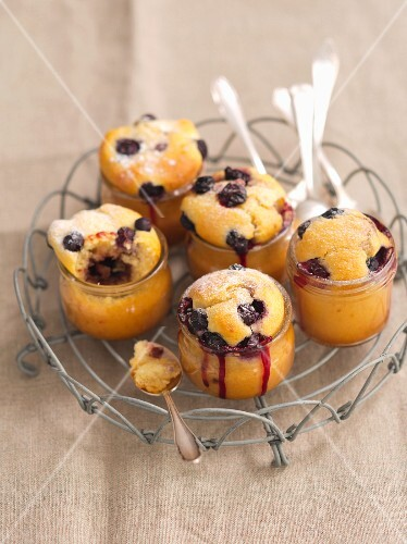 Blueberry muffins baked in glasses