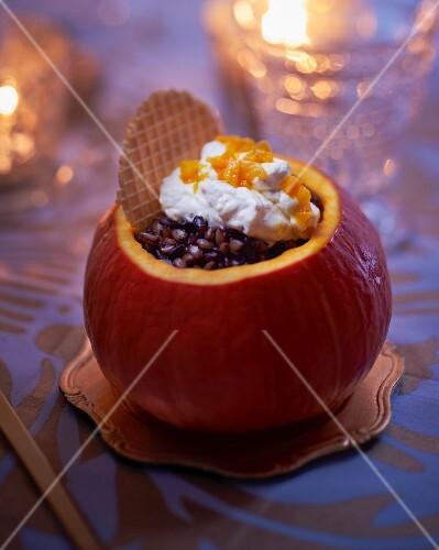 Spelt risotto served in a pumpkin