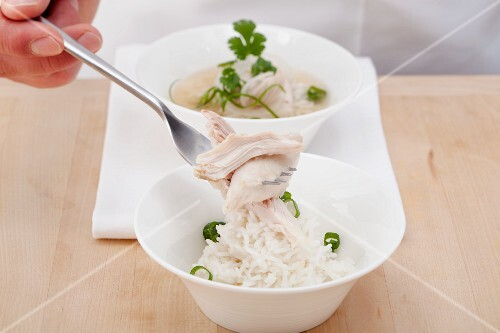 Vietname chicken soup (Pho Ga) being served