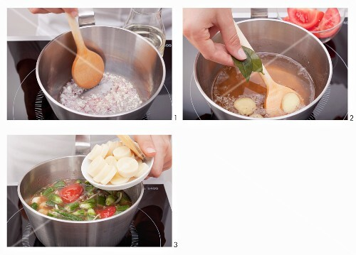 Sweet and sour sauce with vegetables being made (Vietnam)