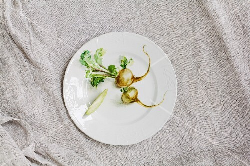 White turnips with leaves and a slice of turnip on a white porcelain plate