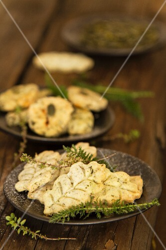 A plate of herb biscuits