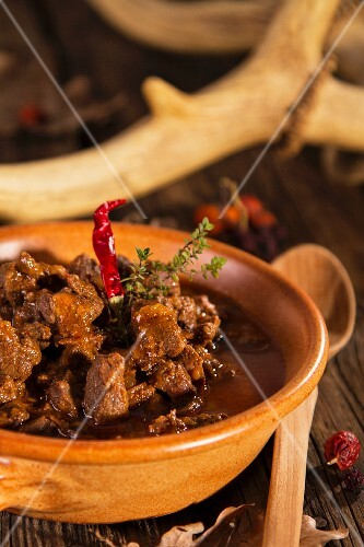 Venison goulash with chilli peppers