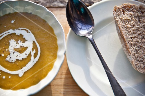 Roasted pumpkin soup with homemade bread