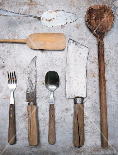 Vintage kitchen utensils and cutlery