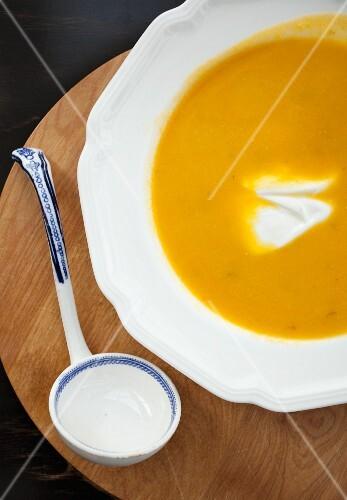 Pumpkin soup with creme fraiche (detail)