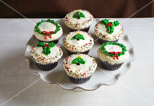 Assorted cupcakes for Christmas