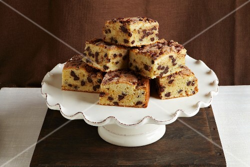 Coffee cake slices on a cake stand