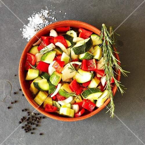 Chopped vegetables with rosemary