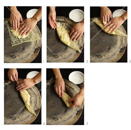 Tofu skin rolls being made