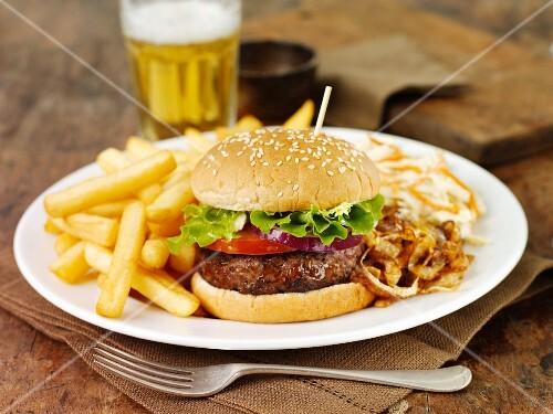 Hamburger and chips