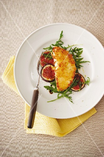 Taleggio escalope with figs and rocket