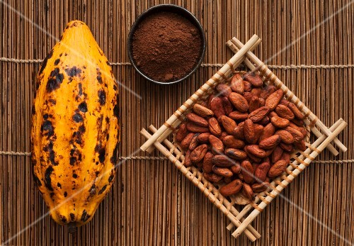 A cocoa pod, cocoa powder and cacao beans
