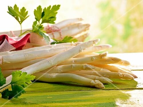 Fresh white asparagus and parsley