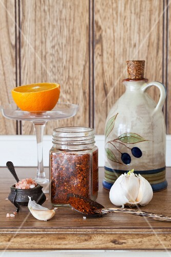 An arrangement of olive oil, garlic, chilli and salt