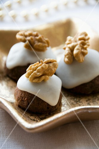 Marzipan balls with walnuts