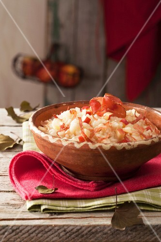 Risotto alla mela (risotta with apple and bacon, Italy)