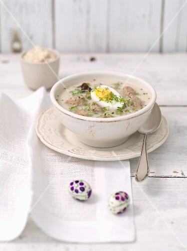 Zurek (Polish Easter soup) with sausage and egg
