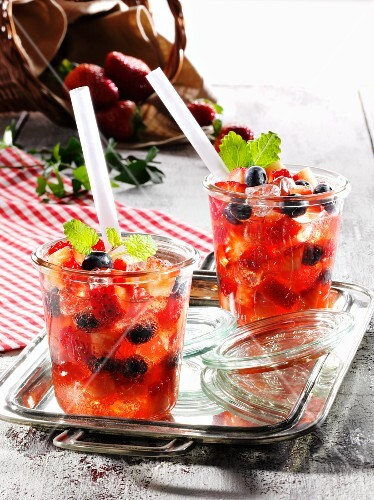 Summer strawberry punch with fresh mint