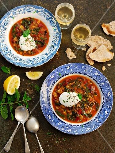 Vegetarian lentil soup with sour cream